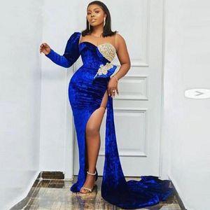 African Evening Dress Mermaid Plus Size Sheer Neck One Shoulder Prom Dress Side Split Aso Ebi Party Wear robe de soiree