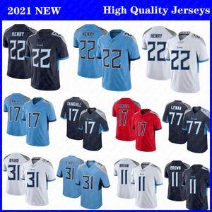 22 Derrick Henry TennesseeMaglie da calcio uomo 31 Kevin Byalard Titan17 Ryan Tannehill 77 Taylor Lewan 11 maglie cucite marroni