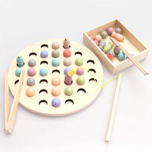 Kids Montessori ألعاب خشبية كليب حبات خشبية لعبة الصيد المغناطيسي لمدة 2 3 4 سنوات من العمر طفل هدايا أطفال ألعاب تعليمية ألعاب تعليمية LJ200907