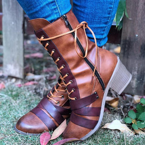 2020 Autumn New Arrival Design Mid-calf Boots Women Cool High Platform Boots Ladies Fashion Autumn and Winter Round Toe Shoes