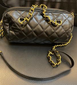 الأزياء نمط اسطوانة سلسلة حقيبة مستحضرات التجميل حالة خمر ماكياج المنظم حقيبة الجمال أدوات الزينة الحقيبة بوسطن شكل جولة حقيبة