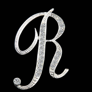 Fashion 26 English alphabet gold and silver diamond brooch female high-end light luxury sweater jacket pin accessories wholesale