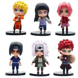 6pcs Naruto Garage Kit Model Set Doll Cute Naruto Sasuke Kakashi I Aro Weasel Decoration Gift Action Figures Kids Boys Toys 01