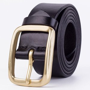 GOURS Genuine Leather Cowhide Belts Men Pure Copper Pin Buckle Luxury Waist Belts for Jeans Italian Full-grain Leather Waistband