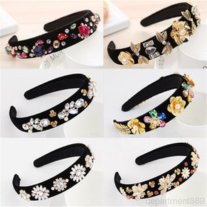 Vintage Accessories Baroque Pearl Hair Band Floral Red Rhinestone Crystal Headband For Women Headdress Headpiece Wholesale DHF1260