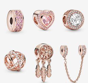 S925 Sterling Silver Jewelry DIY Beads se encaixa no estilo Pandora Charme para Pandora Pulseiras para Pulseira de Gold de Rosa Europeia