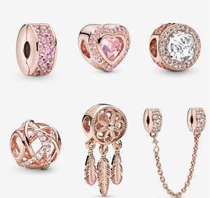 S925 스털링 실버 쥬얼리 DIY 구슬은 Pandora 스타일의 매력에 맞는 Pandora Bracelets 유럽 로즈 골드 BraceletCollier