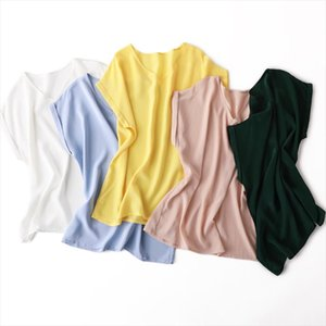 Summer plus size V neck short sleeved solid color 100% natural silk cause shirt womens clothing Drop Shipping