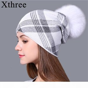 Xthree 2019 new plaid Knitted Hat for Women Winter Beanie Skullies Warm Gravity Falls Cap Real Fur Pom Wool Gorros Female Cap MX191109