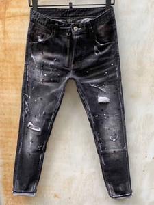Уникальные мужские ленты для нижней панели козкий черный джинсы дизайнер моды Slim Fit промытые мотоцикл джинсовые брюки патчи хип-хоп брюки 1011