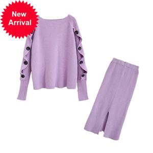 Örme veya tığ işi gömlek ve iki topluluk sonbahar düğme kadının üstleri Gecelik etek 2 parça Bayan Kıyafetler C-294 tanımlayın