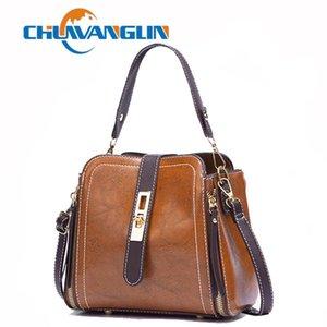 Chuwanglin Vintage Kadın Çantası Deri Çanta PU Omuz Çantası Küçük Flap Crossbody Çanta Kadınlar için Haberci Çanta 1261435