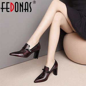 Fedonas Top Quality High Tacchi alti in vera pelle punta a punta donna Slip on Spring Summer Brand Office Pumps Shoes C1212