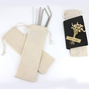 المحمولة الشرب القش حقيبة تخزين الكتان الخيش صغيرة من القطن الحقيبة القماش للسفر نزهة حقيبة الرباط GWA2345