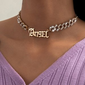 Women Punk Crystal Letter Angel Pendant Choker Necklace Jewelry Shiny Gold Color Chain Necklace Couple Gifts