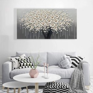 Modern Cavans Large Gold Money Tree Flower Cavans Painting On Canvas Abstract Home Wall Decor Art Picture For Living Room Gift