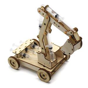 Kök Oyuncaklar Çocuklar için Eğitim Bilim Deney Teknolojisi Oyuncak Seti DIY Hidrolik Ekskavatör Modeli Bulmaca Boyalı Çocuk Oyuncakları Y200428