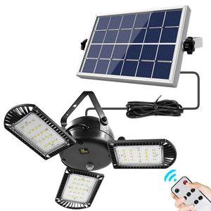 LED Solar Split FLIGINATION Lampe à économie d'énergie intérieure Cour extérieure Cour de paysage Lustre à trois têtes de décoration de jardin avec télécommande