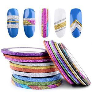 10 Rolls Glitter Nail Art Striping ленты линии наклейки наклейки Советы украшения 1 мм / 2 мм / 3 мм DIY самоклеящиеся 3D-наклейки маникюрные инструменты