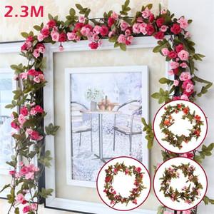 2.3M 7FT Artificial Flower Silk flowers Rose Leaf Garland Vine Ivy Wedding Flower Garden Valentine's Day Christmas flowers Decor