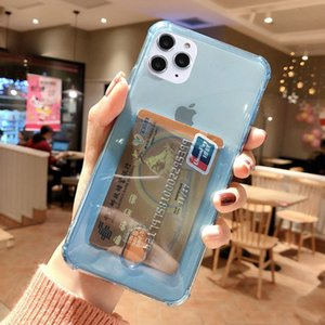 Transparent Card Holder Phone Case for iPhone 12 mini 11 Pro XR X XS Max 6 6S 7 8 Plus Clear ID Credit Slot Back Cover Fundas