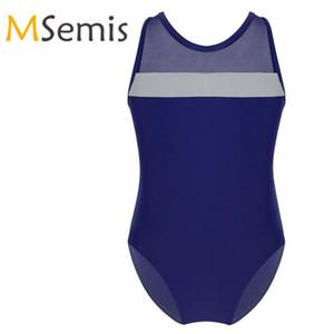 Kids Girls Gymnastics Swimsuit for Dancing Sleeveless Mesh Splice Criss Cross Ballet Bodysuit Cutouts Ballet Leotard Costumes