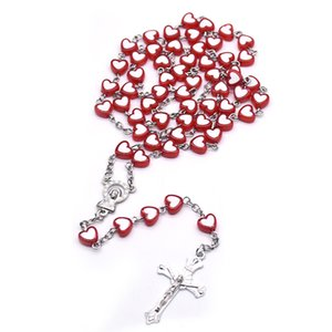 Red Heart Love Cross Rosary Necklace Our Lady of Christ Religious Classroom Prayer Supplies Giveaway Souvenirs