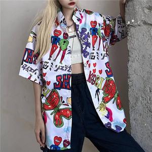 NiceMix street short sleeve hip hop blouse women shirts 2020 summer top vintage korean fashion clothing plus size tops shirts