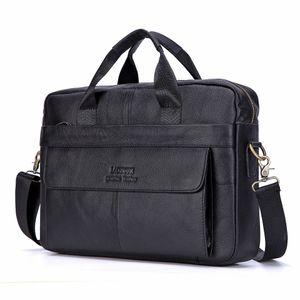 Brand Briefcase Genuine Cowhide Men Handbag Large Capacity Male Bag Laptop Messenger Leather Shoulder Bags Q1129