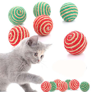 Cat Play Chewing Toy Sisal Straw Cat Pet Rope Weave Ball Teaser Ball Cats Products For Pets Random Color JK2012XB