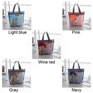 Portable Mesh Transparent Toiletry Handbag Large Capacity Cosmetic Organizer Bags Outdoor Travel Beach Bag Makeup Tote Bag PPD3362