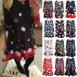 4XL 5XL Large Size Dress Casual Printed Cartoon Christmas Dress Autumn Winter Long Sleeve A -line Dress Plus Size Women Clothing