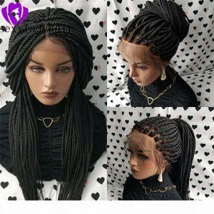 200% caja de densidad trenzas de encaje pelucas frontales para mujeres negras estadounidenses largo negro marrón negro peluca trenzada con cabello natural