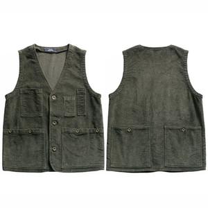 Giacca senza maniche Hip Hop Streetwear 2021 Men Carduroy Bomber Gilet Tactical Vest Multi Tasche