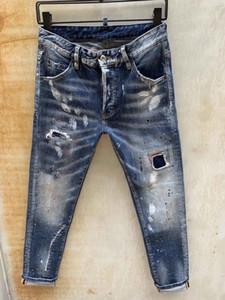 Hommes Jeans Denim Jean Black Pantalon déchiré pour Hommes Men S Italie Mode motard Moto Rock Revival Jeans High QQZM5