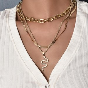 3Pcs Set Women Necklaces Set Classic Snake Metal Pendant Clavicle Chain Gold Necklace Glamour Wedding Party Female Jewelry Gift