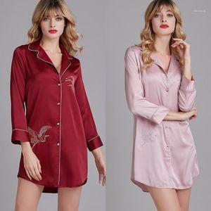 Satin pijamas mujeres verano manga larga camisa collar mujer seda seda bordado falda ocio de ocio szlafrok baño