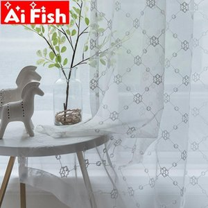 Modern White Cotton Floral Bedroom Sheer Tulle Drapes Pure Color Embroidered Window Screen Cutains For living room Panel ZH221#41