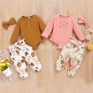 Three Pieces Set Cute Jumpsuit Trousers Floral Bow Long Sleeves Headbands Baby Rompers Toddler Pants Clothing Sets 25hq K2