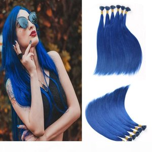 U Nail Shaped Tip Remy Human Hair Extensions Color Blue Pre Bonded Fusion 50 Strands 1g Strand Nail U Tip Hair Extension