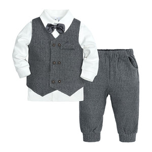 New Arrival spring and autumn boys 3pcs sets clothes with bow toddler One year old tuxedo Kids Gentleman clothing