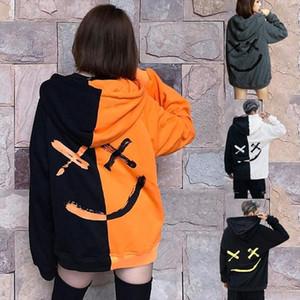 Women Smile Hoodies Sweatshirt Happy Smiling Face Print Mens Patchwork Hoodies Unisex Couple Hip Hop Long Sleeve Hooded Pullover