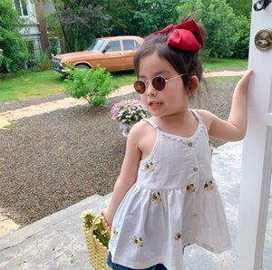 Korean style cute girls cotton flower embroidery slip Tops sleeveless sun-top 1-7Y 201110