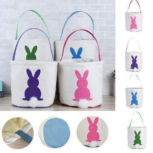 Easter Rabbit Basket Easter Bunny Bags Rabbit Printed Canvas Tote Bag Egg Candies Baskets 4 Colors RRD3332