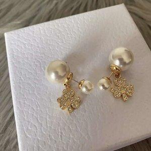 New diamond clover size pearl fashion designer earrings luxury designer jewelry women earrings