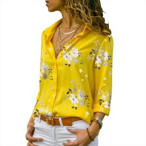 Cinessd Donne Stampa floreale Camicette Casual Tops Turn Down Collar Manica lunga Cardigan Single Breasted Button Slim Bohemian Blusa