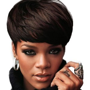 Wholesale Wigs Summer Fashion 23CM Short Curly Remy Lace Front Short Black Wig fine quality full lace wig straight very short human hair wig