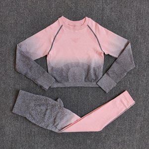 2pcs Ombre Seamless Women Sports Suit Gym Leggings Workout Clothes Long Sleeve Fitness Crop Top Shirts Pants Yoga Set Tracksuit Y201128