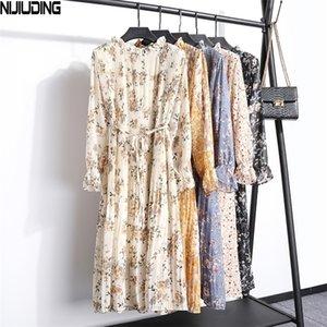 Nijiuding Femmes Robe en mousseline de soie Spring Automne Nouveau manches longues Robe à mi-veau à manches longues imprimée florale robes longues robes de fête 201204
