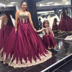 Robes de fête élégantes long burgundy bal chérie robe de ballon en dentelle applique satin soir